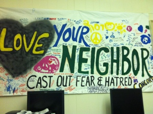 A poster that was created by students in Concord after hate-filled graffiti was left on the homes of our refugee families.